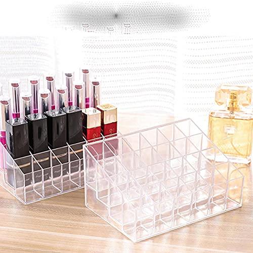24 rejilla, organizador de maquillaje acrílico, caja de almacenamiento, caja de cosméticos, lápiz labial, caja de joyería, soporte de exhibición, organizador de maquillaje, predeterminado