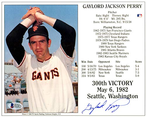 Gaylord Perry San Francisco Giants MLB Hand Signed 8x10 Photograph
