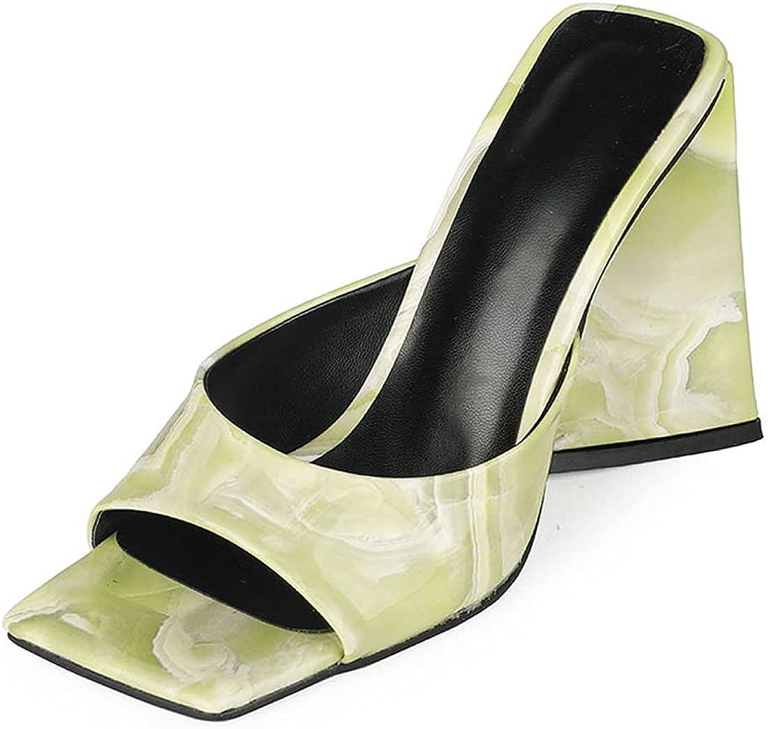 YIYA Women's Heeled Mules Square Open Toe Slide Sandals Slip On Chunky Block High Heels