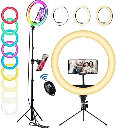 """Aro de Luz con Tripode 160cm, OMMO 12"""" Ring Light LED RGB para Selfie, 3200-6500K Anillo de Luz con Soporte Teléfono para Maquillaje, Fotografia, Video, Youtube, TikTok"""