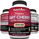 Nutrivein Tart Cherry Capsules 3000mg - 90 Vegan Pills - Antioxidants, Flavonoids - Supports Uric Acid Cleanse, Pain Relief, Muscle Recovery, Joint Pain, Healthy Sleep, Juice Extract Supplement