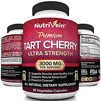 Nutrivein Tart Cherry Capsules 3000mg - 90 Vegan Pills - Antioxidants Flavonoids - Supports Uric Acid Cleanse Pain Relief Muscle Recovery Joint Pain Healthy Sleep Juice Extract Supplement