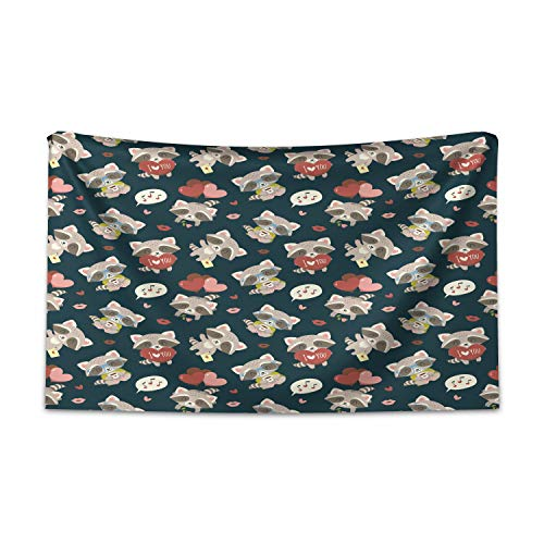 ABAKUHAUS Romantisch Wandteppich und Tagesdecke, Waschbär Ich Liebe Dich, aus Weiches Mikrofaser Stoff Kein Verblassen Klare Farben Waschbar, 230 x 140 cm, Mehrfarbig