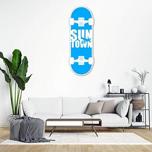 DKISEE Suntown - Adhesivo decorativo para pared, diseño de monopatín, color azul