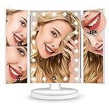 HAMSWAN [Nouvelle Édition Miroir Maquillage] Miroir Grossissant Triptyque avec 21pcs LED, Miroir Lumineux 2X/3X/10X avec Ecran Tactile, Alimentation Double, Rotation Réglable à 180 °