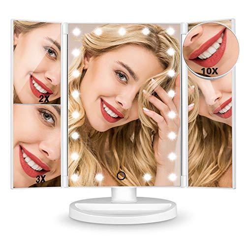 HAMSWAN Kosmetikspiegel, 3 Seiten Make-up-Spiegel Schminkspiegel rasierspiegel Touchscreen LED faltbar dimmbar 180 Grad einstellbar Drehung 2X 3X 10X Vergrößerungsspiegel für Home Beauty