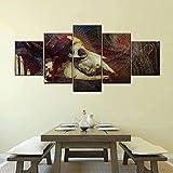 ARIE 5 Piezas Cuadro Toro Espantoso 5 Piezas Impresión En Lienzo Tablero del Moderno Cuadro De Pintura Póster De Arte Sala De Decoración Hogareña