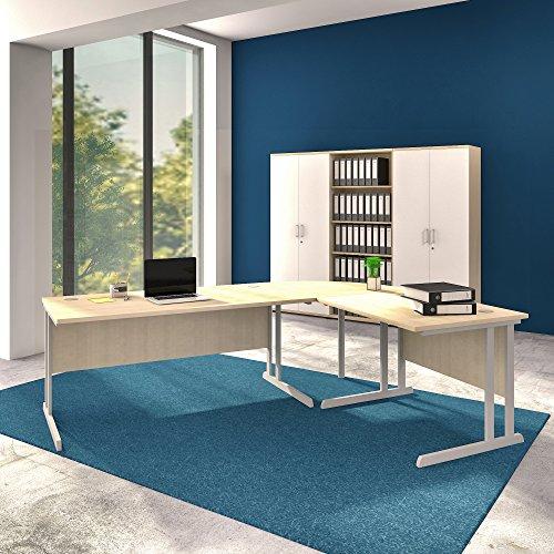 Weber Büro Winkelschreibtisch Computertisch Eckschreibtisch 240 x 180 cm Ahorn Optima C
