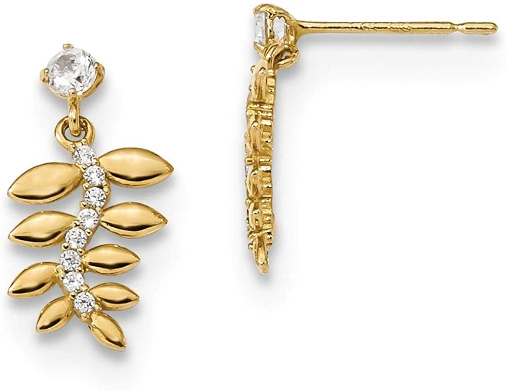 14k Yellow Gold Kids Cubic Zirconia Cz Fern Leaves Drop Dangle Chandelier Post Stud Earrings Fine Jewelry For Women Gifts For Her