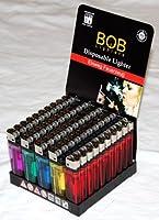 BOB 200x Einwegfeuerzeuge (= 4x50er-Packung) aus dem Hause von Campingman BOB die neue Marke von Campingman 5 verschiedene Farben sortiert auf dem Display Flammengröße einstellbar TÜV geprüft und mit Kindersicherung, erfüllt die Normen ISO 9994 und E...