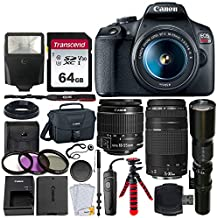 Canon EOS Rebel T7 Digital SLR Camera + EF-S 18-55mm is II Lens + EF 75-300mm Lens + 500mm Telephoto Lens + Canon Bag + Filter Kit + 64GB Memory Card + Flash + Remote + Tripod - Professional Bundle