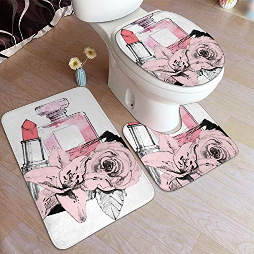 Generic Badezimmerteppich-Set, Parfüm mit Lippenstift auf weißem Hintergrund, rutschfest, 50 x 80 cm, 3 Stück