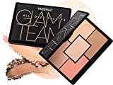 Faberlic Glam Team Face Color Palette 5 in 1 Italian Full Makeup Kit: Highlighter, Powder, Bronzer, Blush & Sculptor