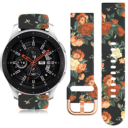 22mm Watch Band For Gear S3 Frontier Band Silicone Galaxy Watch Band 46mm Printed Band Breathable Replacement band Quick-Release Pin
