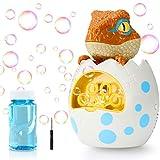 joylink Maquina Burbujas Niños, Máquina de Burbujas Automática Portátil Dinosaurio con Solución de Burbujas, Maquina Pompas Jabon Juguetes de Burbujas para Niños Baño Fiestas