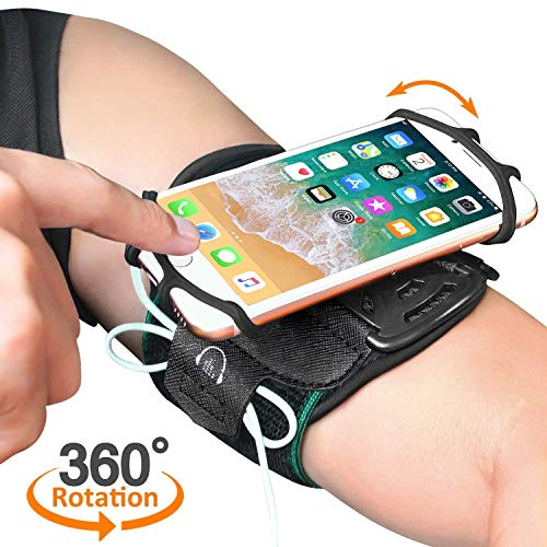 HLOMOM Armband for iPhone 11/11 Pro/11 Pro Max/X/Xs/Xs MaxXR/X/8 Plus/8/7/iPod Touch, Sports Armband for Androids,Samsung Galaxy,Suit for 4''-6.5''Phone with Case