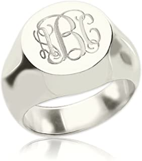 925 Sterling Silver Personalized Signet Radiant Monogram Ring Custom Made with Any Initials
