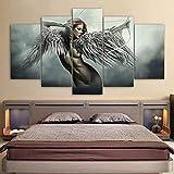 MENGLE Cuadro En Lienzo 5 Piezas-Angel Wings Body Sensual-Impresión Artística Imagen Gráfica Decoracion De Pared Lienzo Arte De La Pared Posters Salón Dormitorio Decorativo