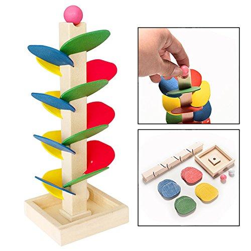 OFKPO Los niños de colores árboles de madera bloques de correr bola pista juego temprano juguete educativo