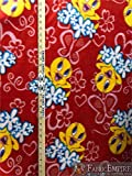 Fleece Printed Antipill Winter Fabric Tweety Bird and Flowers RED Background / 58' Wide/Sold by The Yard