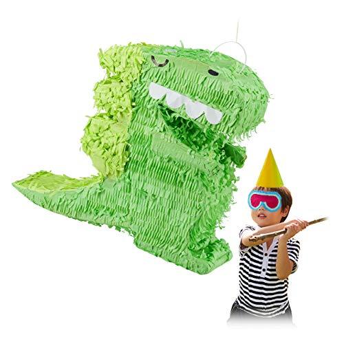 Relaxdays Pignatta Dinosauro, da Appendere, per Bambini, Adulti, per Feste, Compleanni, da Riempire, di Carta, Verde, Colore, 10031474