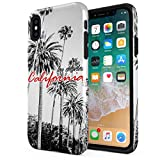 Los Angeles Sunny Califronia Palm Trees Compatible with Apple iPhone XS MAX Silicone Inner & Outer Hard PC Shell 2 Piece Hybrid Armor Case Cover