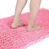 Yimobra Original Luxury Shaggy Bath Mat, 44.1 X 24 Inches, Super Absorbent Water, Non-Slip, Machine-Washable, Soft and Cozy, Thick Modern for Bathroom Bedroom, Pink