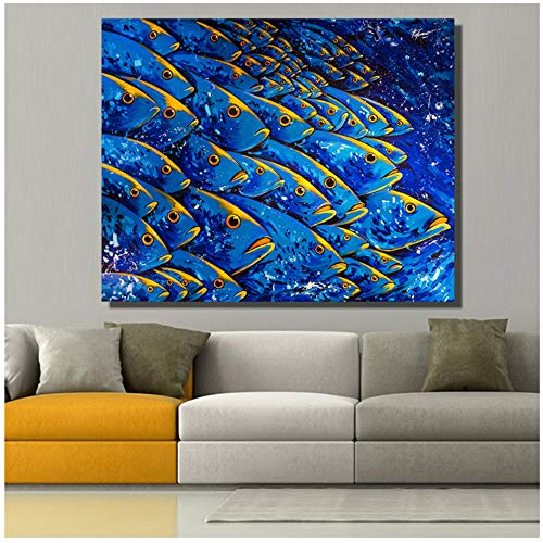 Cuadro en lienzo Arte Imágenes de pared para sala de estar Pintura de animales Pez azul Arte en lienzo Pintura al óleo Vivir en el agua Decoración del hogar 24x32 pulgadas (60x80cm) Con marco