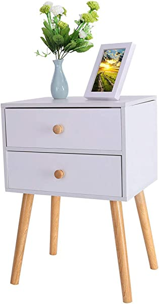 2 Drawer Bedroom Nightstand Storage Cabinet End Table With Partical Board Wooden Legs 2 Color Choice White
