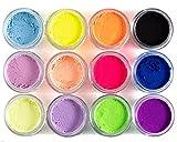 Neon Pastel Eyeliner Eyeshadow UV Glow Loose Powder Pigment 12 Colors Kit 3
