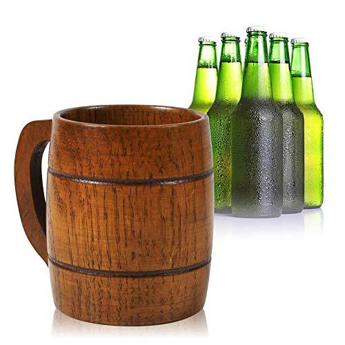 Kylewo Houten bierpul – Vintage Bier Koffie drinkbeker met handvat Houten kroon voor Oktoberfest, bars, cafés, clubs, restaurants, hotels en huizen – 350ml