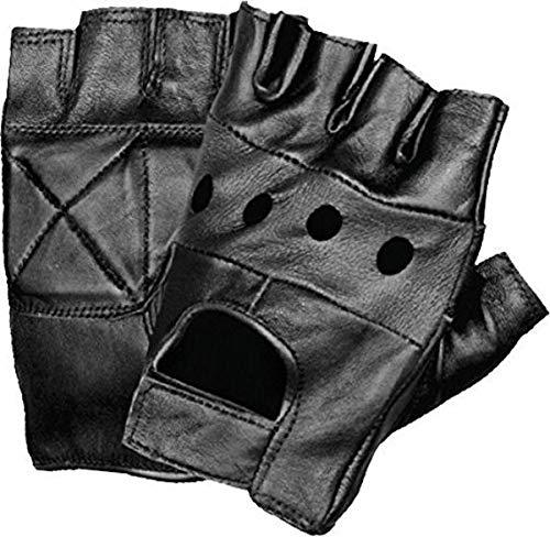 Shaf International SH355-M-BLACK Men's Leather Fingerless Glove (Black, Medium)
