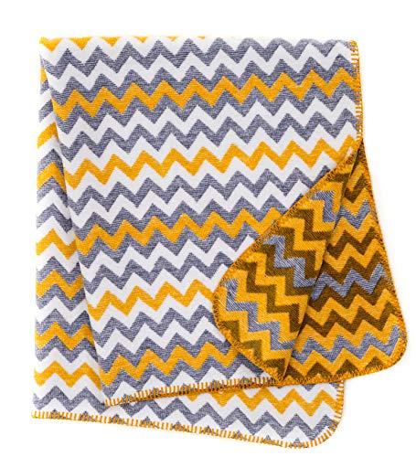 Babydecke/Kuscheldecke für Babys, kuschelig weich, Baumwollmischgewebe, 100x120 cm, Gelb/Grau - Zickzack