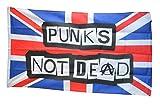 Fahne / Flagge Großbritannien Punks Not Dead + gratis Sticker, Flaggenfritze®