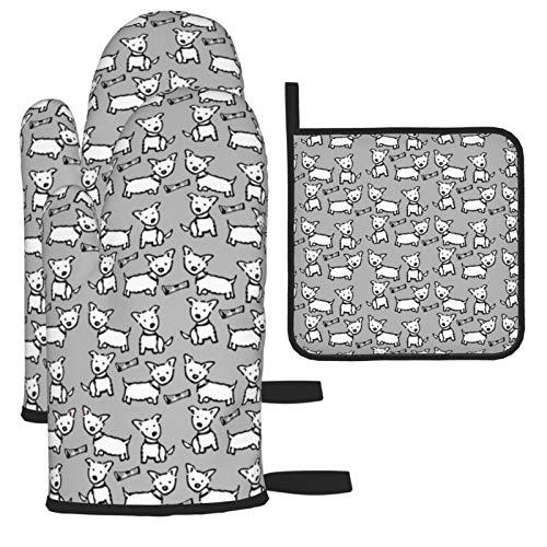 Wfispiy West Highland White Terrier Westie Grey 2 gants de cuisine résistants à la chaleur + 1 set de table, maniques de four et de four à micro-ondes