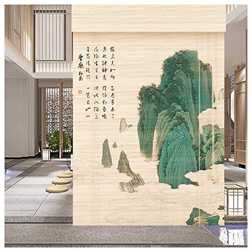 ZEMIN Bambus Rollo Jalousien Raffrollos Sichtschutz Brandschutz Ländlich Wasserdicht 2 Muster, Multi-Size Anpassbare (Color : B, Size : 120x200cm)
