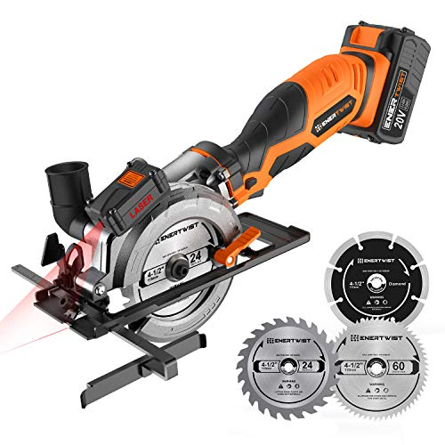 "EnerTwist 20V Max 4-1/2"" Cordless Compact Circular Saw Kit with 4.0Ah Lithium Battery and Charger, Laser & Parallel Guides, Wood Plastic Metal Cutting Blades, Vacuum Adaptor, ET-CS-20C"