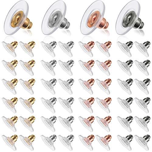 400 Stücke Ohrring-Verschlüsse 3 Stile Metall Gummi Kunststoff Sichere Ohrring Rücken Stopper Kugel Runde Form Ohrstopper für Zubehör Ohrringe Set (Gold, Silber, Roségold, Schwarz)