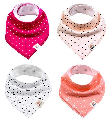 Baby driehoekige sjaal 4 stuks halsdoek schattige uniseks van katoen met verstelbare drukknopen spuugdoek slabbetjes voor kleine kinderen jongens en meisjes Meisjesset