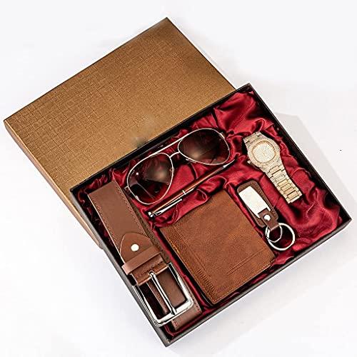 MGPLBYA Conjunto de Regalo Bellamente 6pes / Set Men's Gift Set Bellamente envasado Minimalista Minimalista Reloj + Pen + Cinturón de Cuero + Gafas + Llavero Mujer