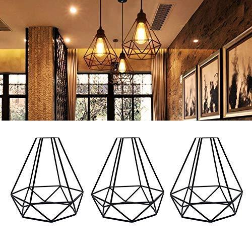 Chengjellylibrary Decken Lampenschirm, Metall Geometrisch Hängeleuchte Wächter, Vintage Decken Lampenschirm Eisen Gitter