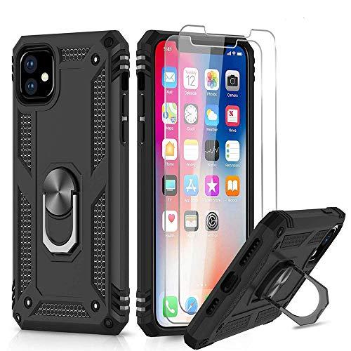 MIAOXIAO Hülle für iPhone 11 Handyhülle mit Panzerglas Schutzfolie 360 Grad Cover Magnetische Bumper Schutzhülle für iPhone XR/XS/XS Max/ 11 Pro/ 11 Pro Max,Schwarz,iPhone 11