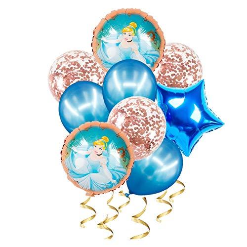 jsobh Globos de cumpleaños 1set Princess Helium Globos Confetti Bolas de látex Fiesta de cumpleaños Decoraciones for niños Juguetes Niña Regalo Globos (Color : 6)