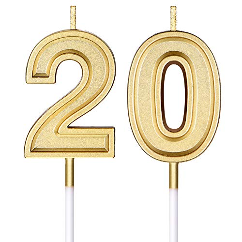 20th Birthday Candles Cake Numeral Candles Happy Birthday Cake Candles Topper Decoration for Birthday Wedding Anniversary Celebration Supplies (Gold)