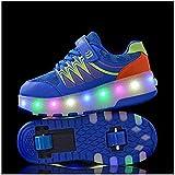 LBWT Pattini a rotelle, classici pattini a rotelle all'aperto a LED Roller Skate scarpe luminose sportive fitness per bambini ragazzi ragazzi ragazze donne (colore : blu, taglia: 4.5 UK/38 EU)