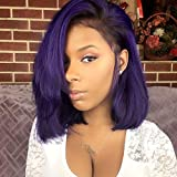 Derun Ombre Straight Bob Lace Front Wig Human Hair 130% Density 4×4 Lace Short Bob Wigs 1B Purple Remy Hair for Black Women (130% Density, 10Inch)
