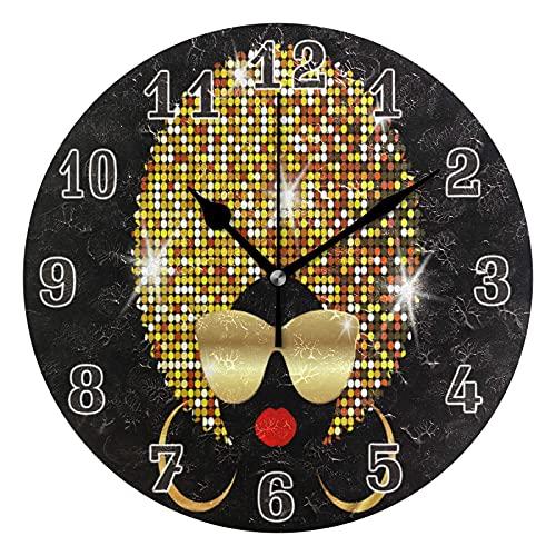 MMBY Mujeres africanas piel oscura pelo oro sala de estar dormitorio fácil de leer reloj decoración creativo doble propósito reloj arte silencioso no escala ronda reloj