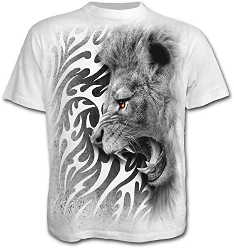 Espiral – Hombres – De León Tribal – Camiseta, Color Blanco