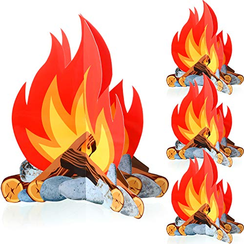 4 Sätze 3D Dekorative Pappe Lagerfeuer Herzstück, Künstliches Feuer Gefälschtes Flammen Papier für Lagerfeuer Party Dekorationen (12 Zoll)
