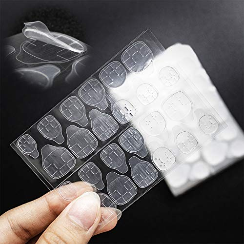 JUSTOTRY 50 Sheets (1200Pcs) Double-Sided Fake Nail Adhesive Tabs - Breathable Transparent Gel Nail Tape Glue Stickers for Press on Nails Tips Women Kids
